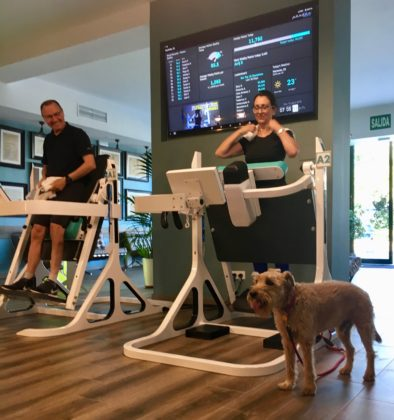 A man and woman using the Pendex machines Blum Body Balance studio, Marbella, Spain