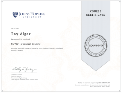 Image of Ray Algar's certificate from John Hopkins University COVID-19 Contact Tracing Course