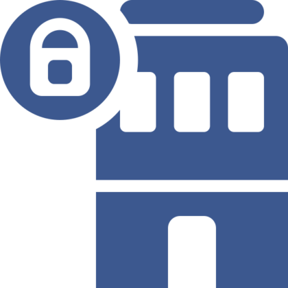 Graphical image of blue building with a padlock to illustrate the impact of COVID-19.